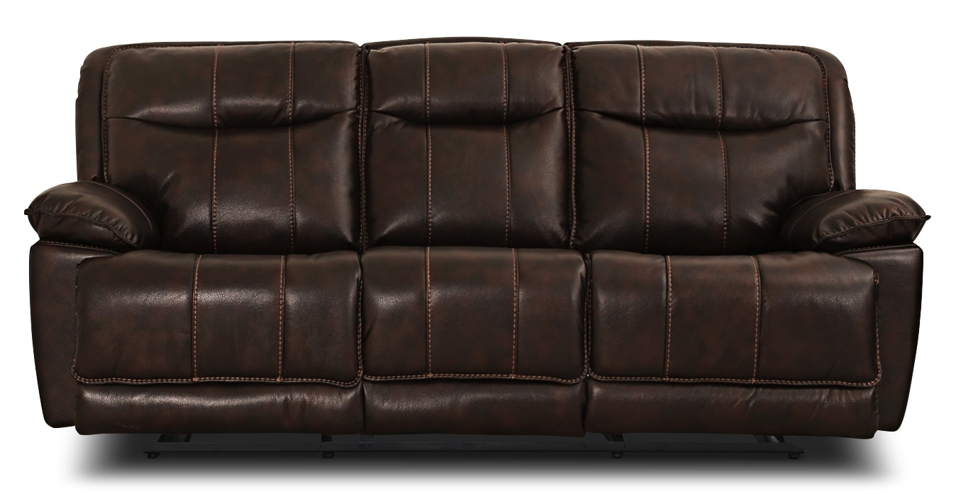Matt Leather-Look Fabric Reclining Sofa – Walnut