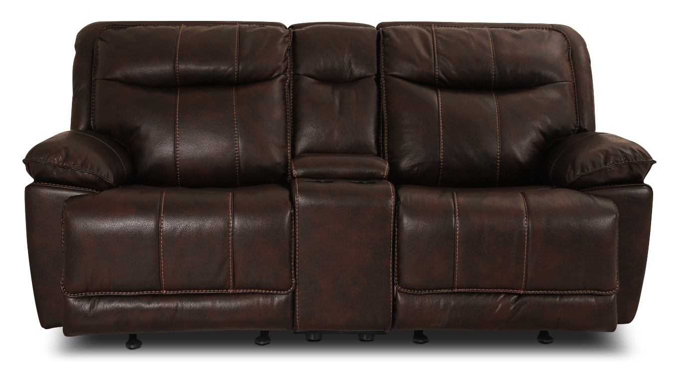 Matt Leather-Look Fabric Reclining Loveseat – Walnut
