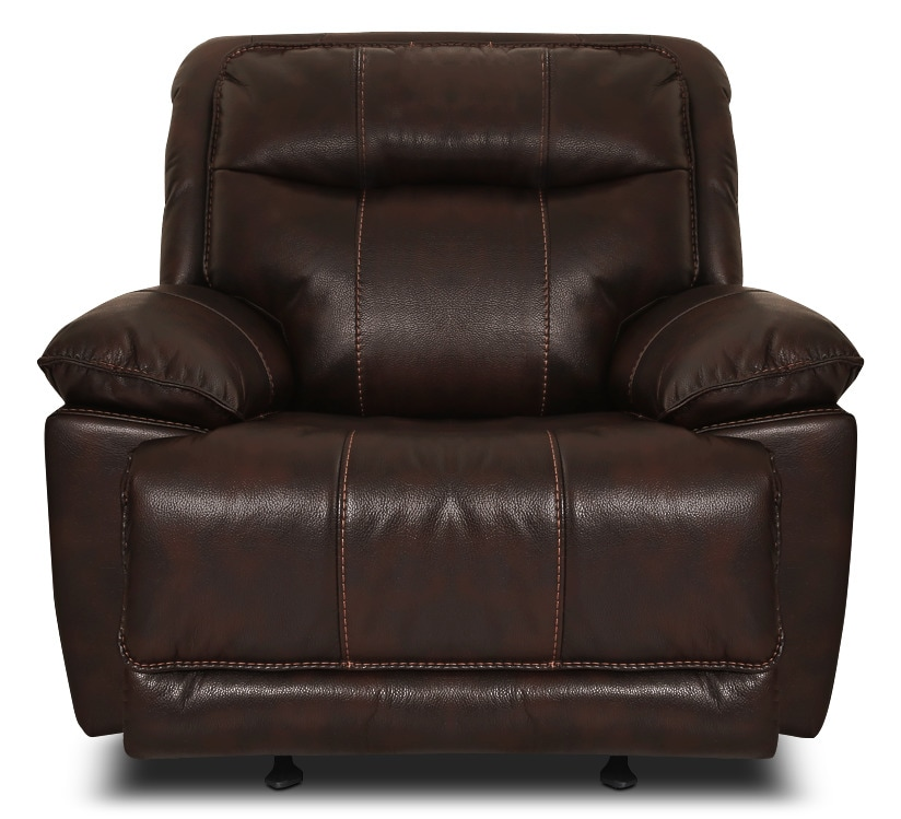 Living Room Furniture - Matt Leather-Look Fabric Reclining Chair – Walnut