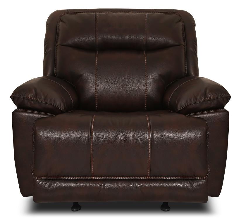 Living Room Furniture - Matt Leather-Look Fabric Reclining Chair – Walnut