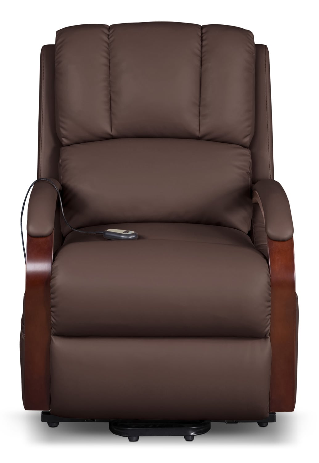 ray bonded leather power lift recliner brown the brick