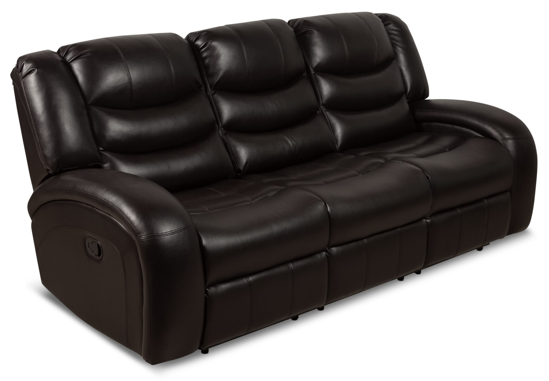 Angus Leather Look Fabric Reclining Sofa Dark Brown