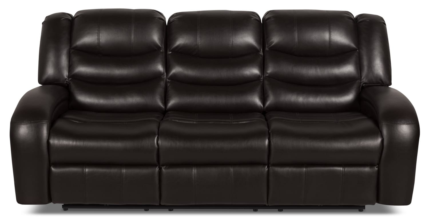 Angus Leather-Look Fabric Reclining Sofa – Dark Brown