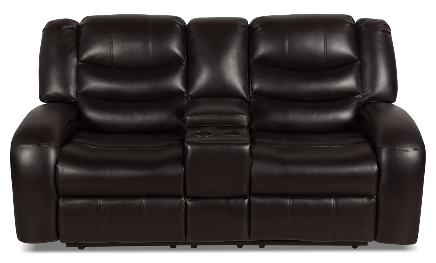 Angus Leather Look Fabric Reclining Sofa Dark Brown
