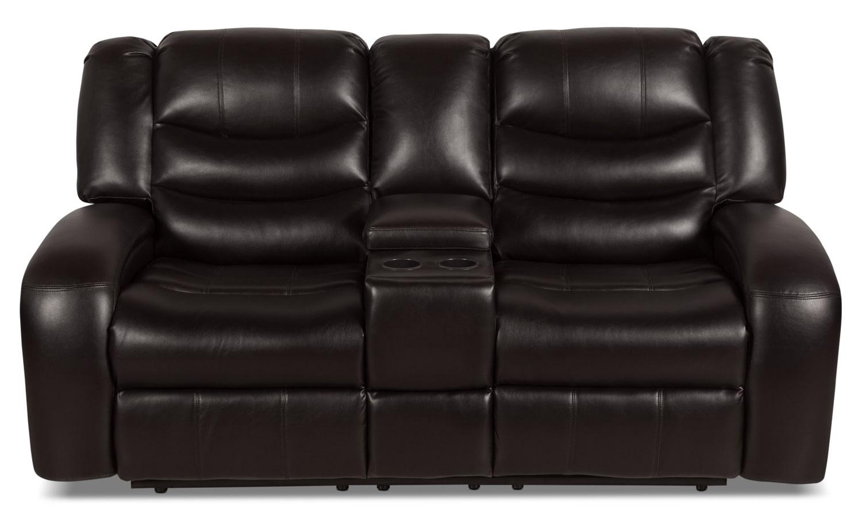 Living Room Furniture - Angus Leather-Look Fabric Power Reclining Loveseat – Dark Brown