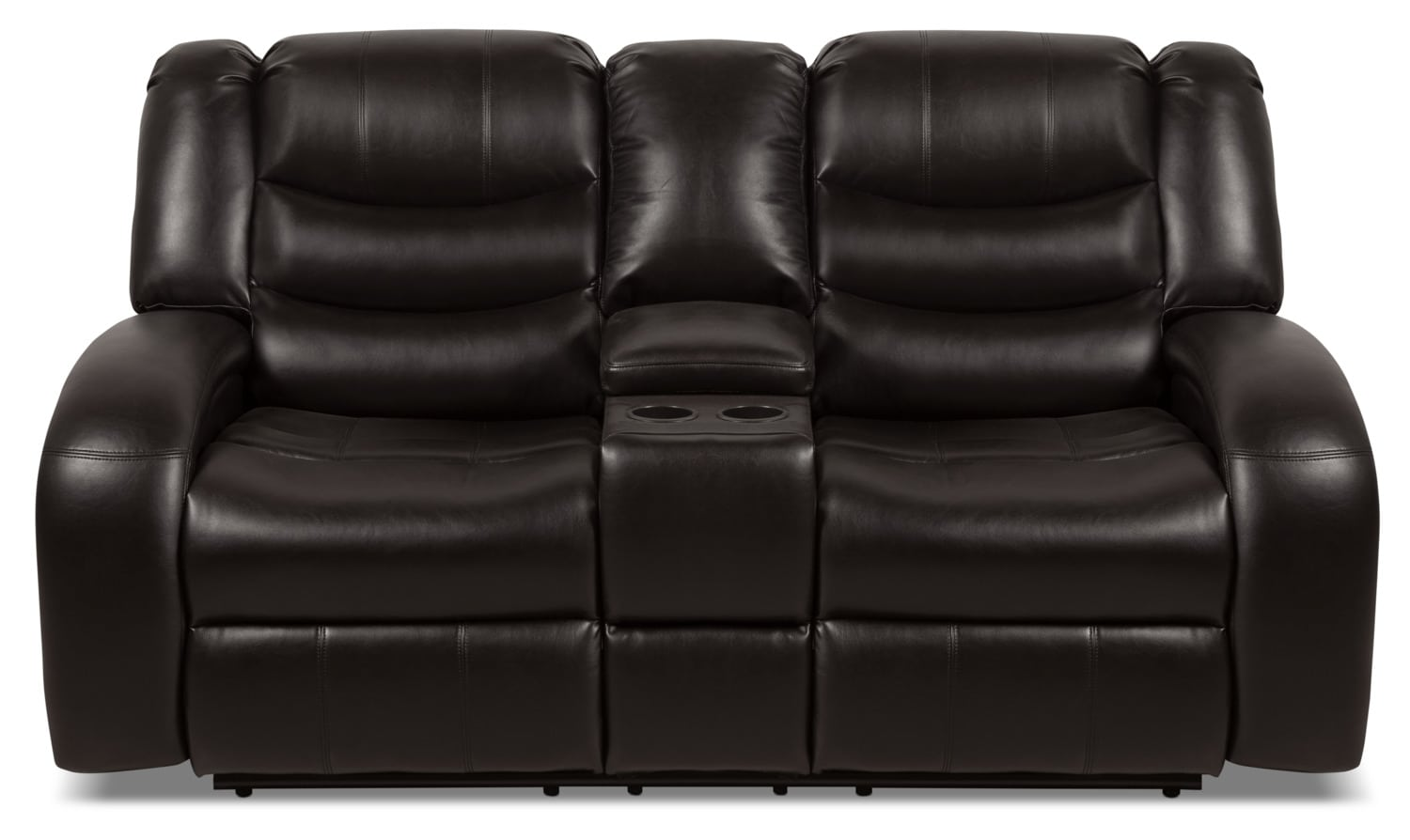 Angus Leather Look Fabric Reclining Loveseat Dark Brown The Brick