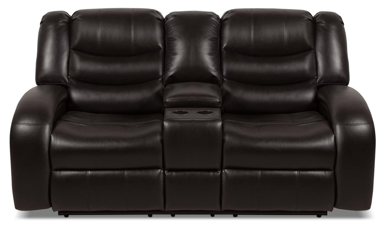 Angus Leather Look Fabric Reclining Loveseat Dark Brown