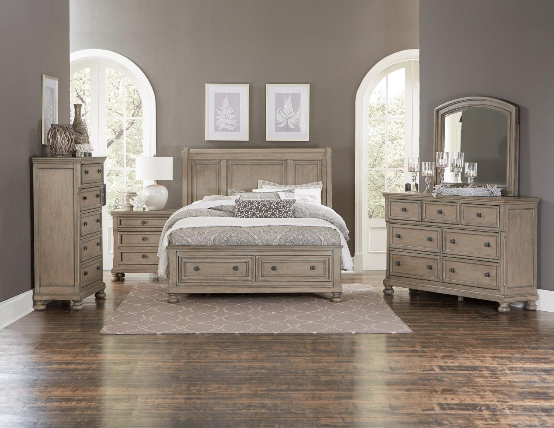 windchester piece queen storage bedroom set  grey  leon's - windchester piece queen storage bedroom set  grey