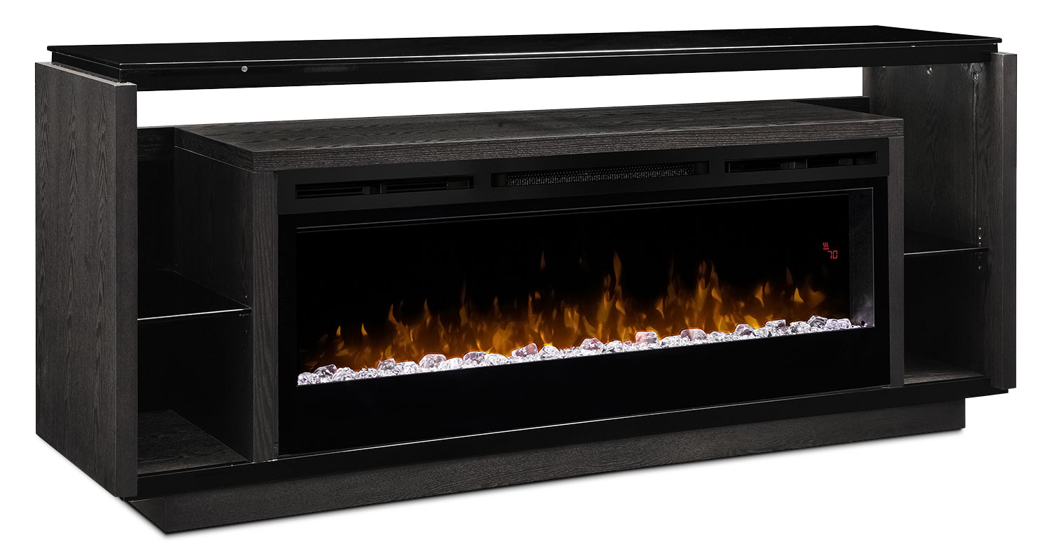 "David 74"" TV Stand with Glass Ember Firebox 