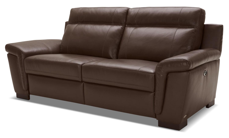 Living Room Furniture - Seth Genuine Leather Power Reclining Sofa – Mahogany