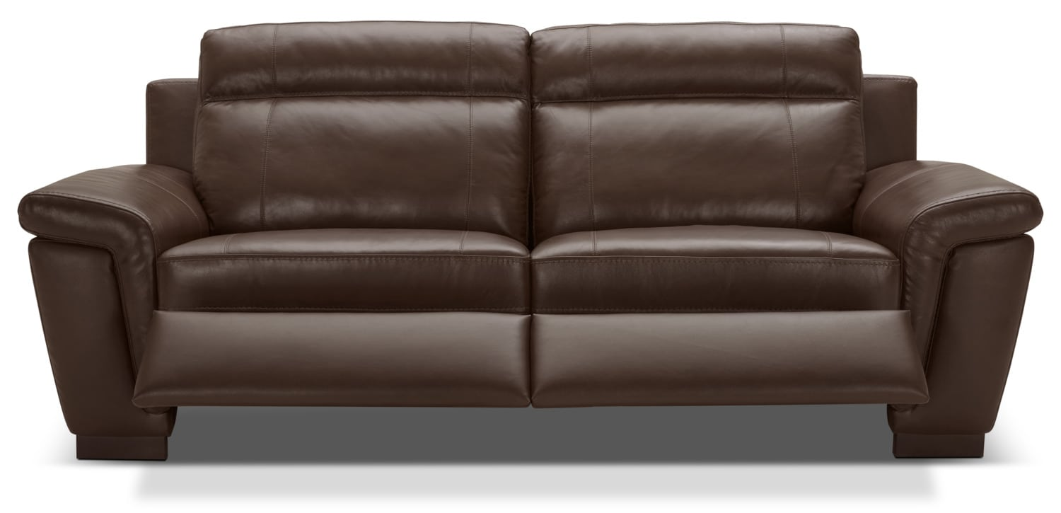Seth genuine leather power reclining sofa mahogany the for Real leather sofas