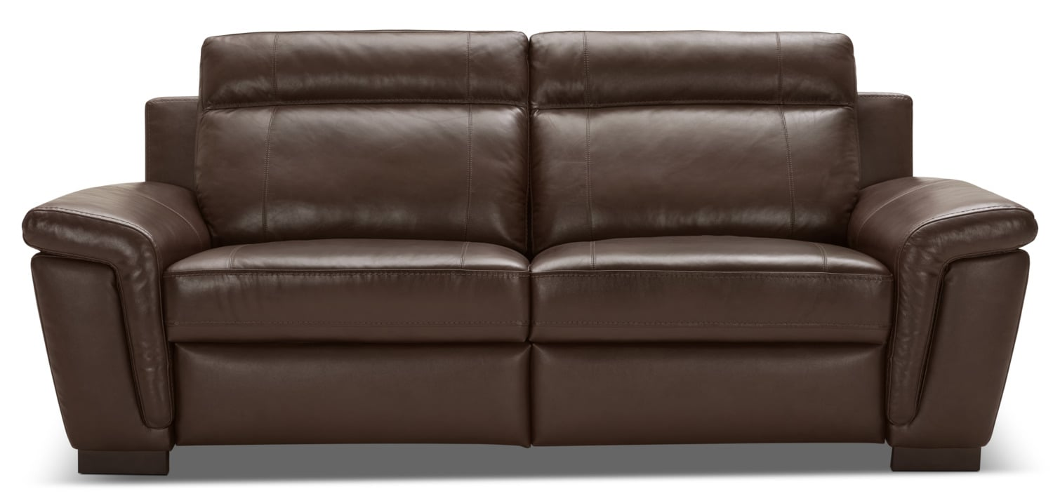 Seth Genuine Leather Power Reclining Sofa – Mahogany