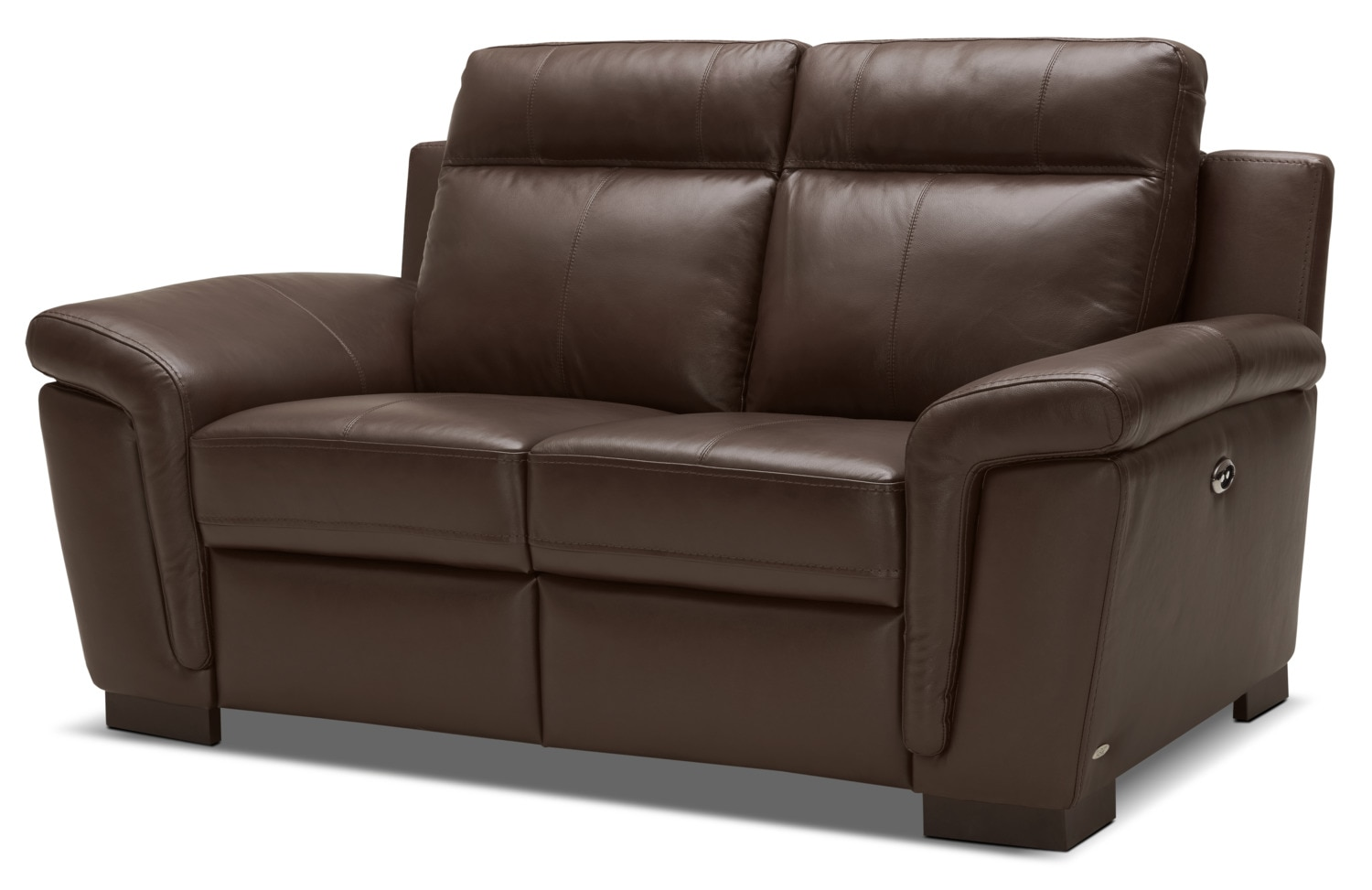 Living Room Furniture - Seth Genuine Leather Power Reclining Loveseat – Mahogany