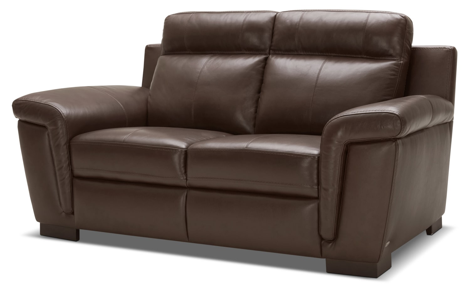Seth genuine leather sofa mahogany the brick for Real leather sofas