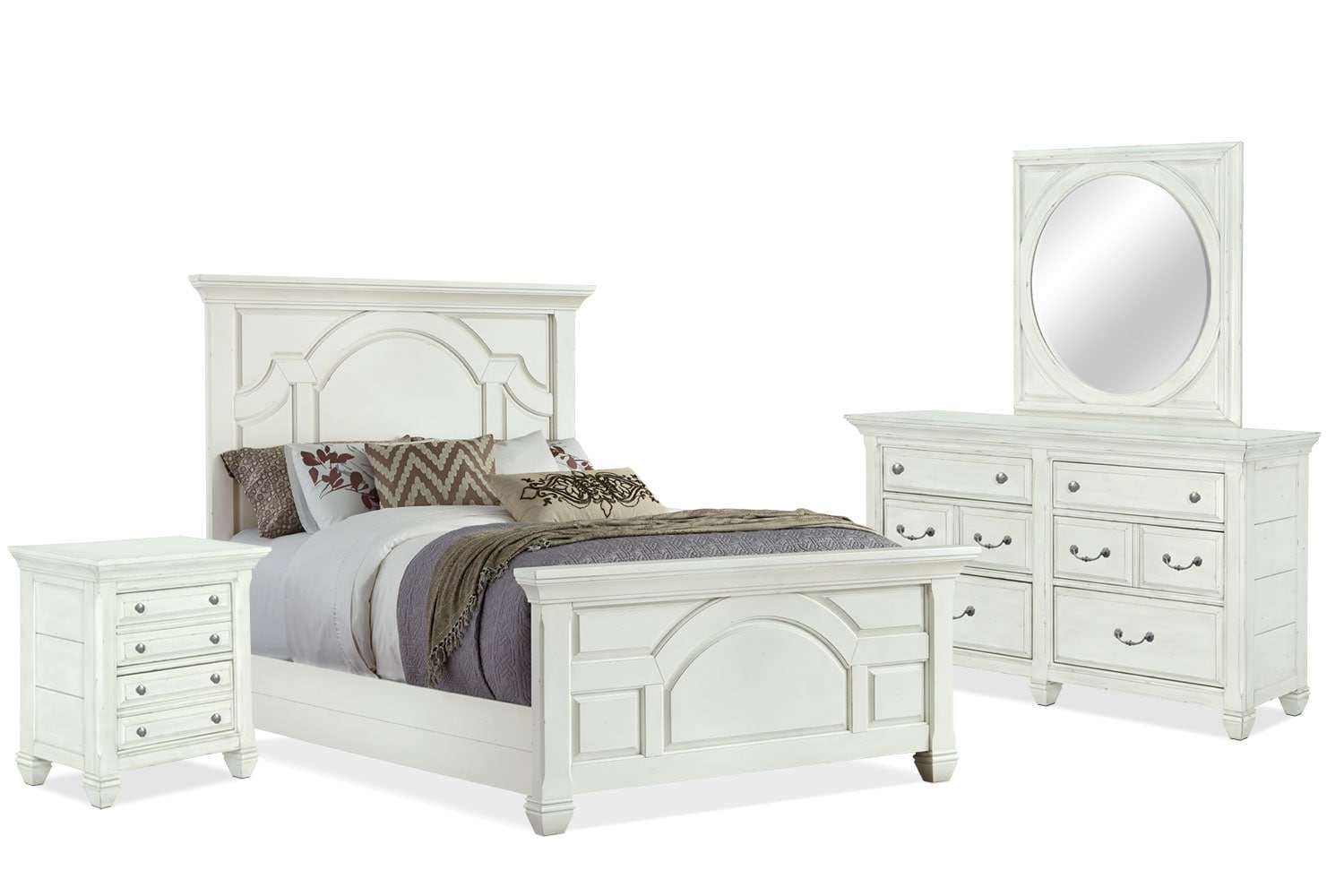 Hancock park 6 piece king bedroom package the brick for Bedroom furniture packages