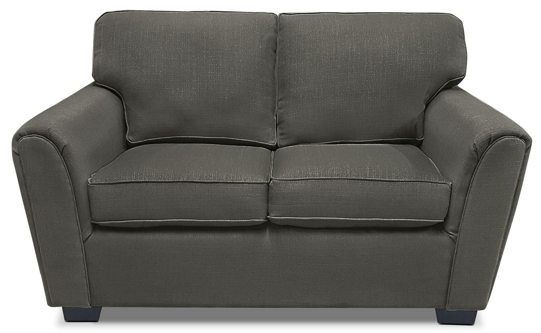 Living Room Furniture - Brynn Linen-Look Fabric Loveseat – Grey
