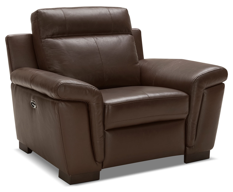 Seth Genuine Leather Power Reclining Chair U2013 Mahogany