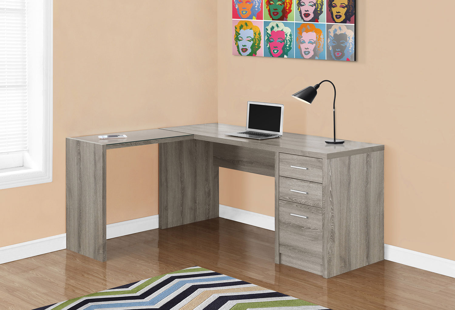 Pascal Computer Desk - Dark Taupe