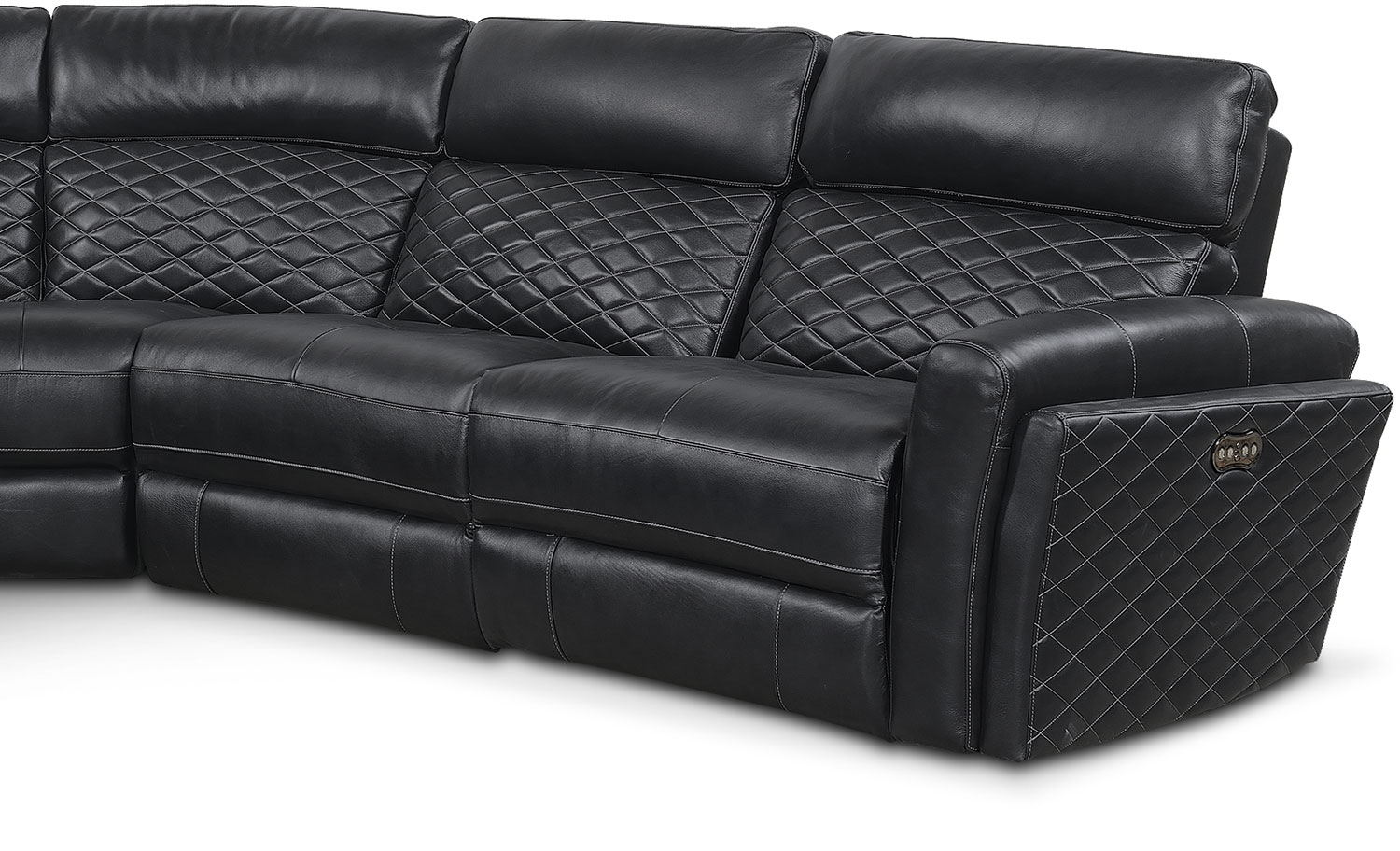 Catalina 5 piece power reclining sectional with left for Black sectional with chaise