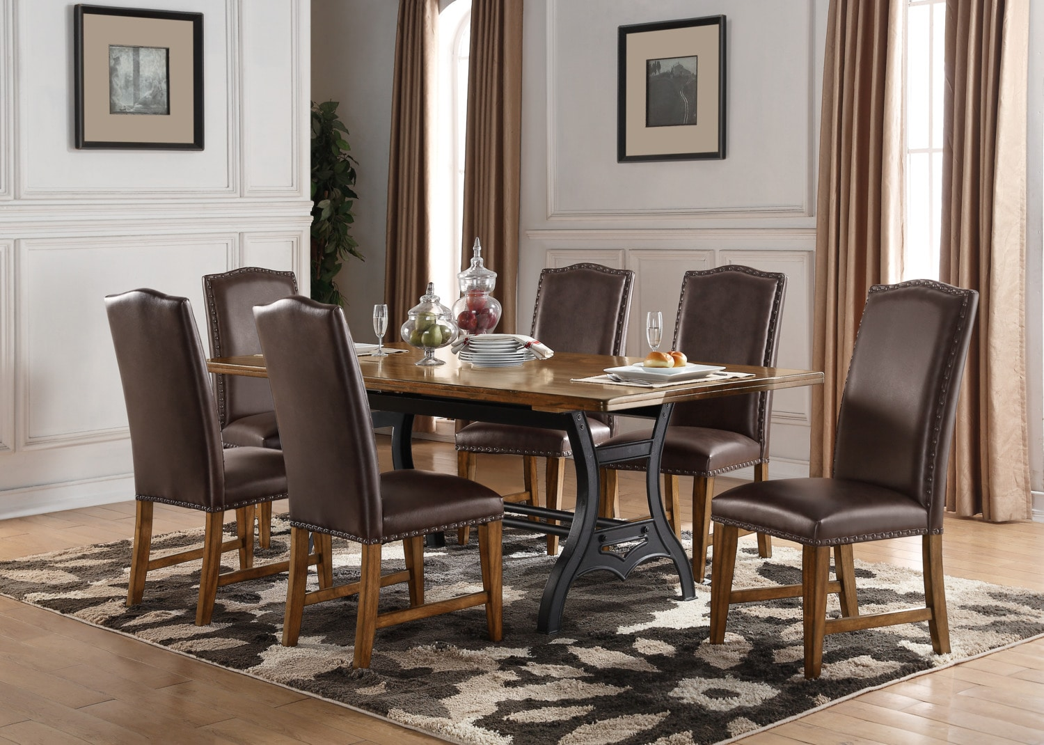 Dining Room Furniture - Alpine 7-Piece Dining Package – Brown