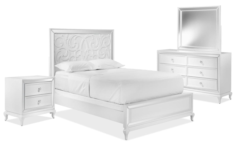 Arctic Ice 5-Piece Queen Bedroom Set - White