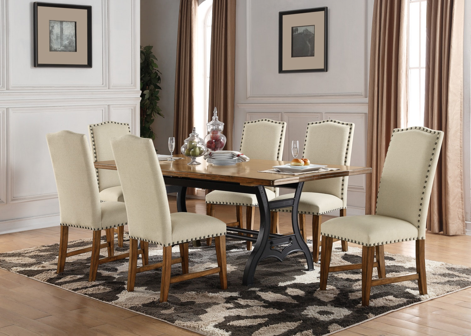 Dining Room Furniture - Alpine 7-Piece Dining Package – Beige