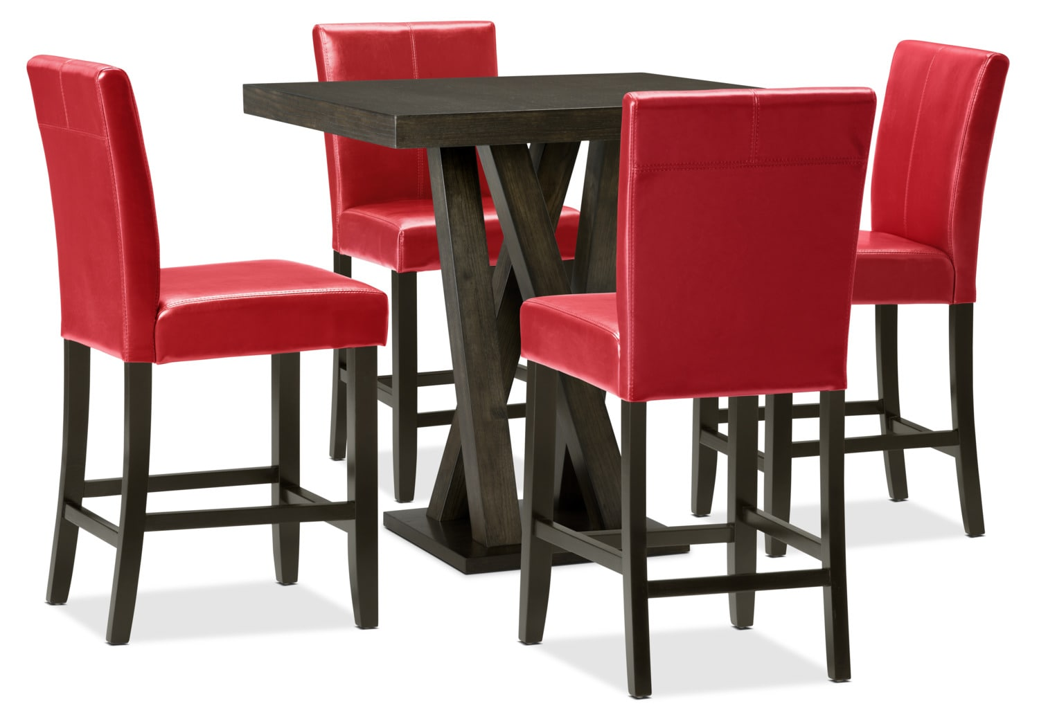 Soho 5-Piece Counter-Height Dining Package – Red