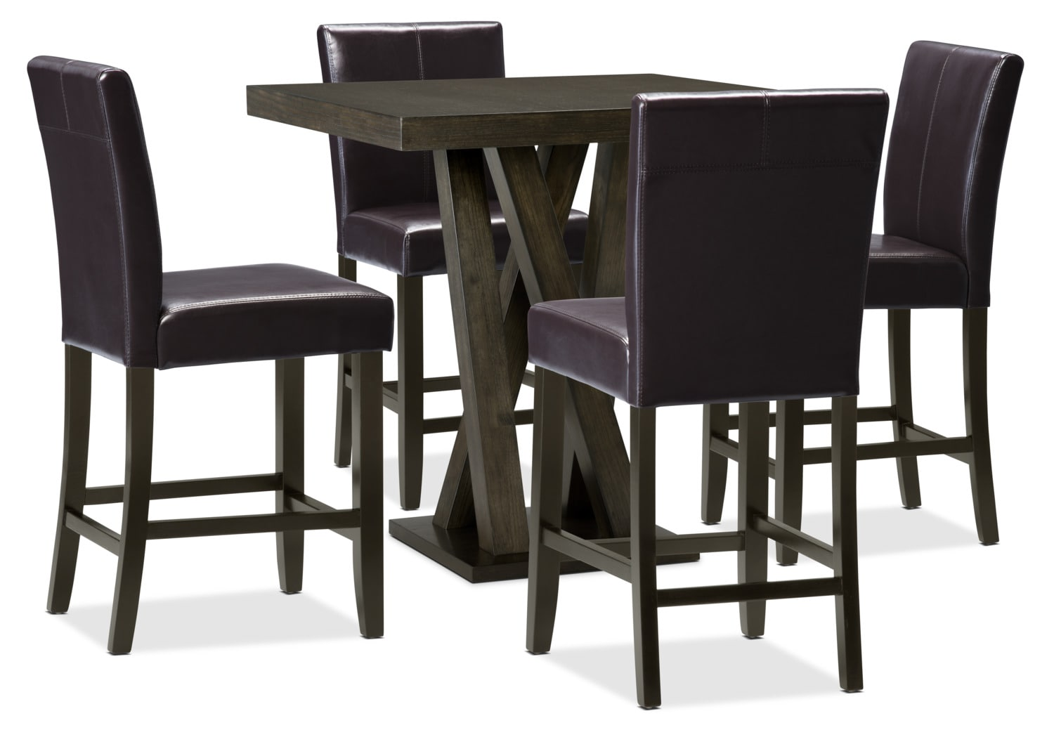 Soho 5-Piece Counter-Height Dining Package – Brown