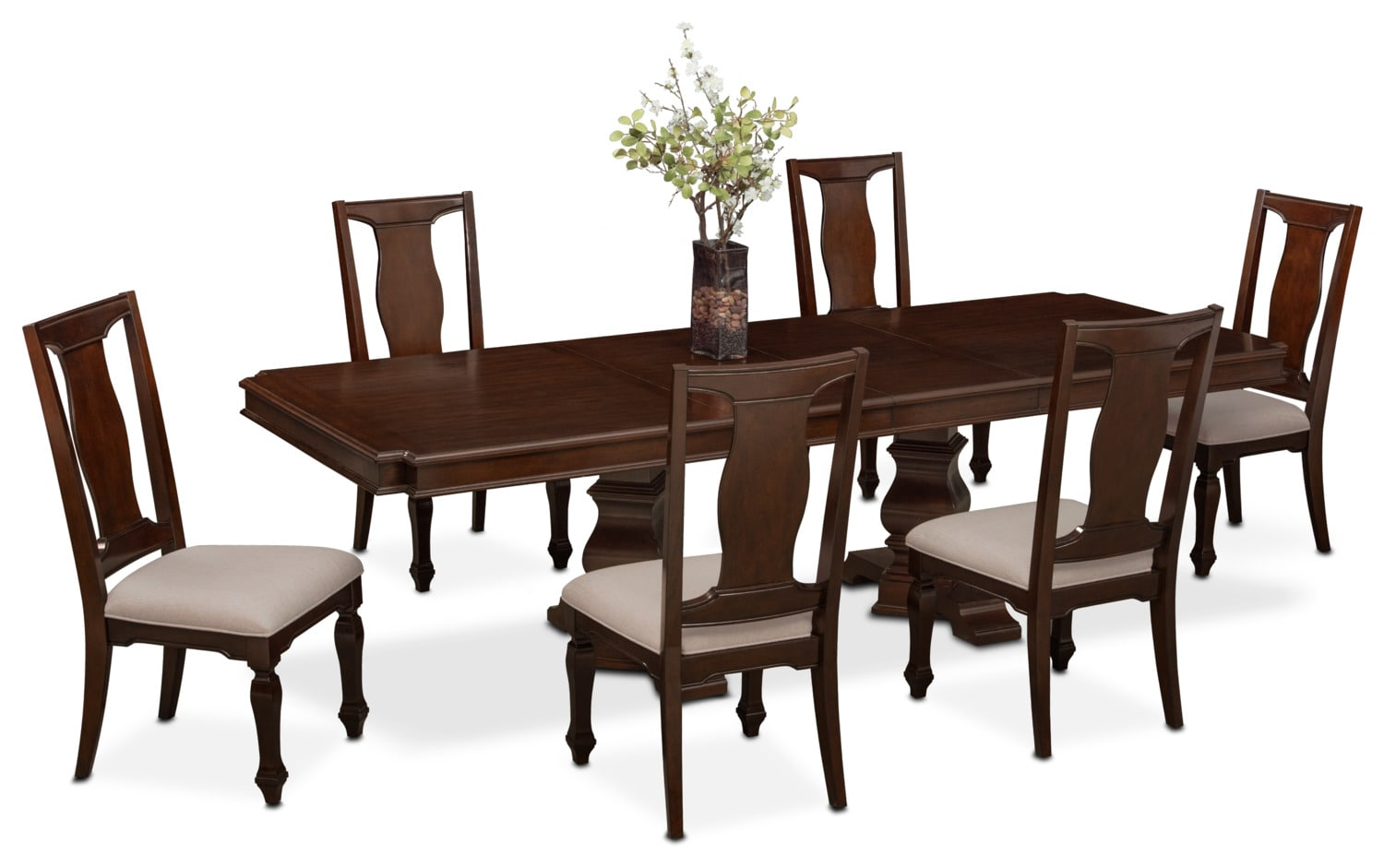 Vienna dining table and 6 side chairs merlot value for Side chairs for dining table