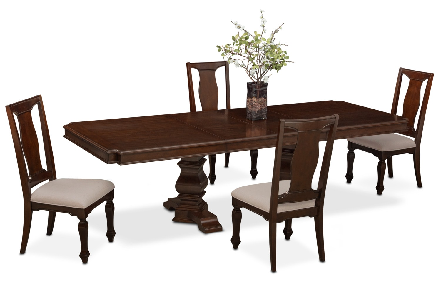 Vienna rectangular dining table and 4 side chairs merlot for Dining room tables value city