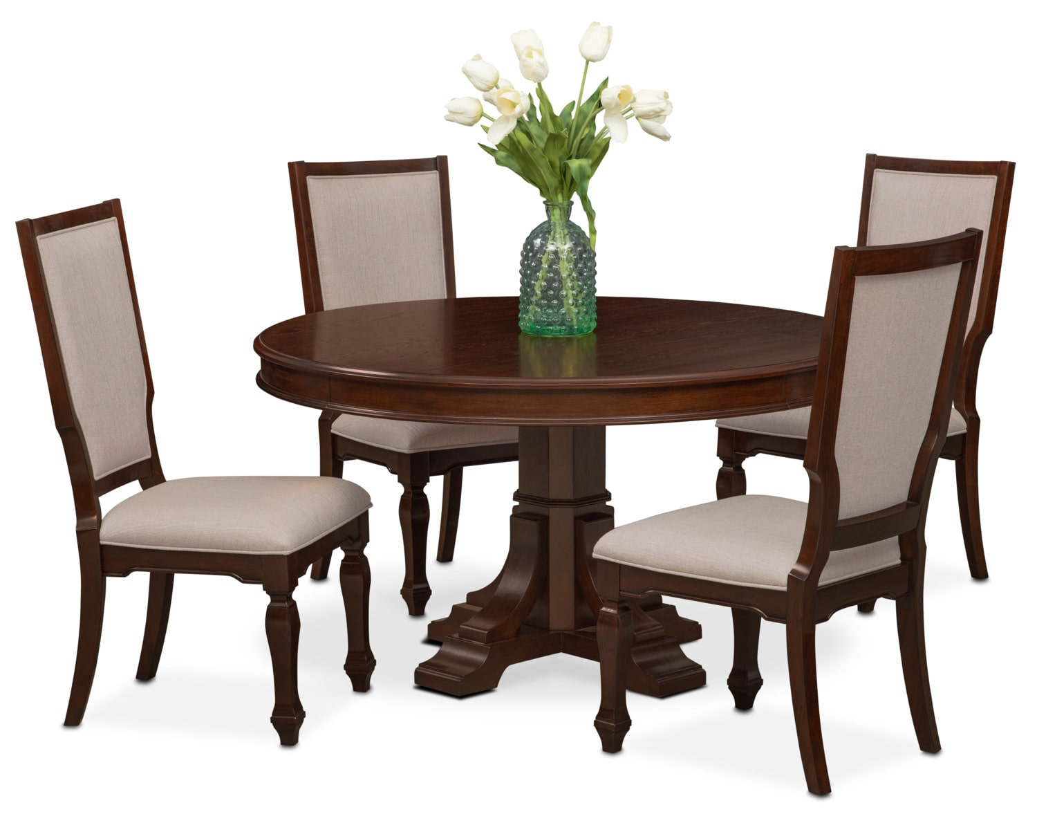 Vienna round dining table and 4 upholstered side chairs for Round wood dining room table