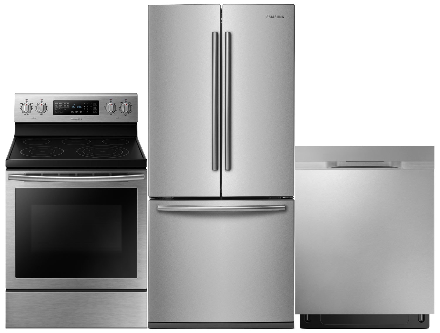 Samsung 22 Cu. Ft. Refrigerator, 5.9 Cu. Ft. Range and Dishwasher with Auto-Open Drying