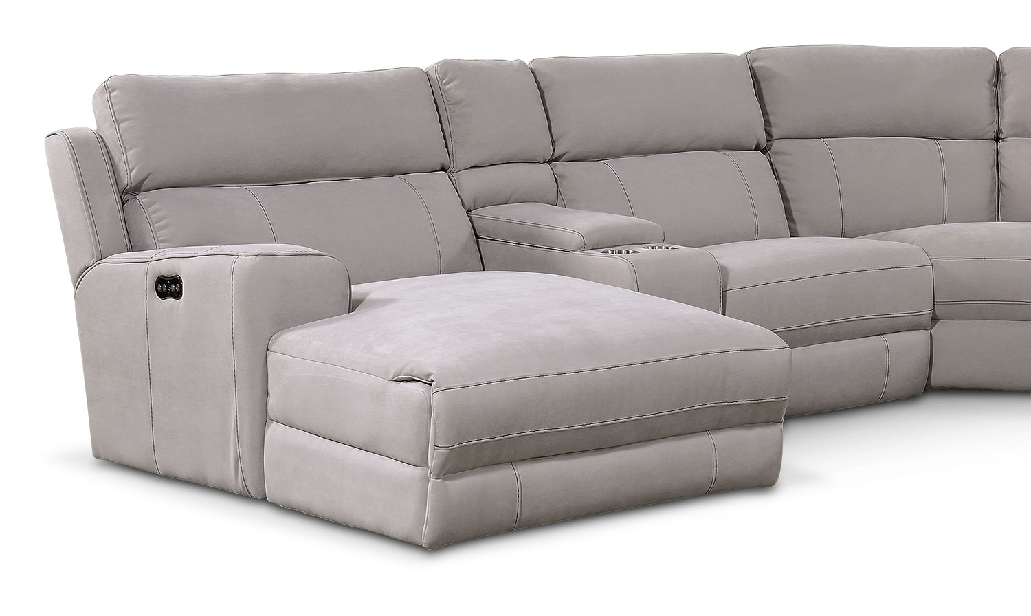 newport 6 piece power reclining sectional with left facing chaise and 1 recliner light gray. Black Bedroom Furniture Sets. Home Design Ideas