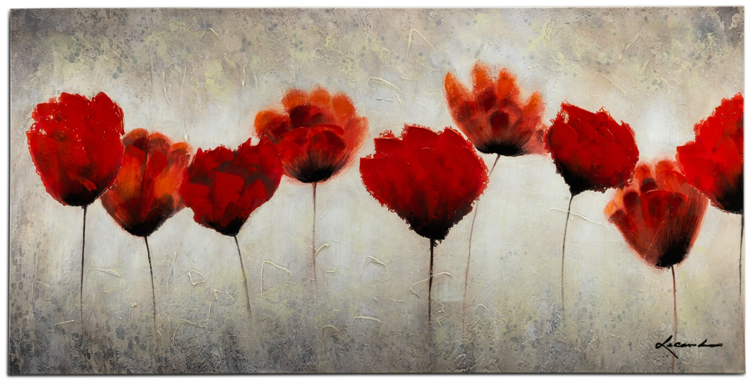 "Red Blossoms Canvas Art (60"" X 30"")"