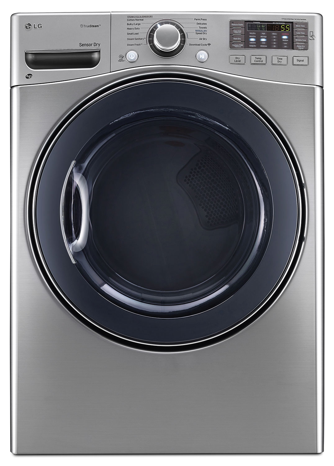 LG 7.4 Cu. Ft. Ultra-Large Capacity High-Efficiency Gas SteamDryer™ – Graphite Steel