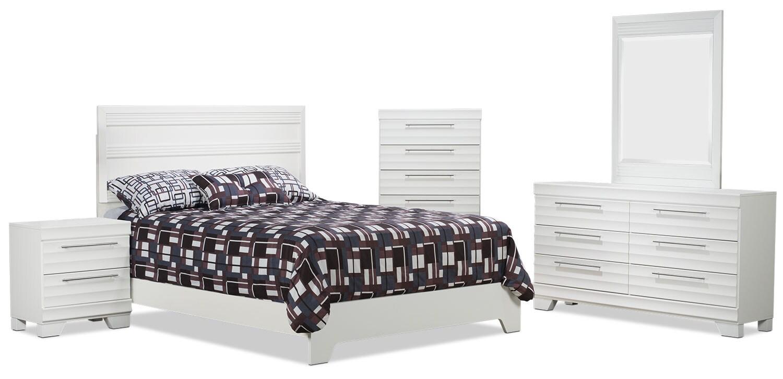 Bedroom Furniture - Olivia 7-Piece Queen Bedroom Package – White