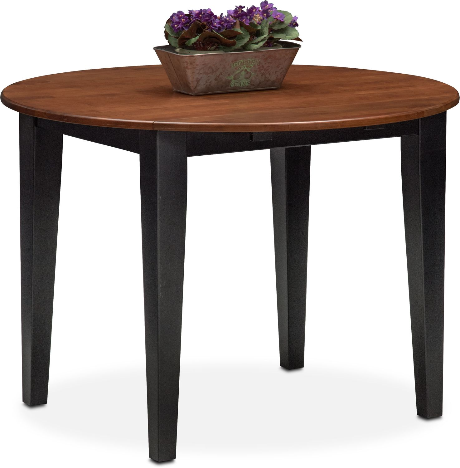 Nantucket drop leaf table black and cherry american for Black dining table with leaf