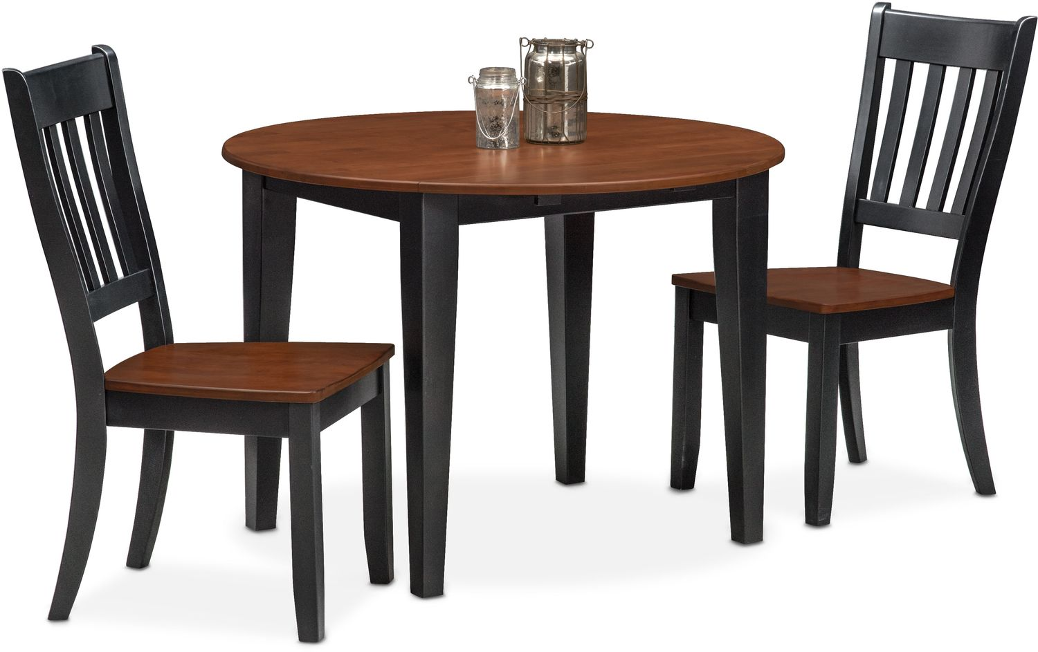 Nantucket drop leaf table and 2 slat back chairs black for Black dining table with leaf