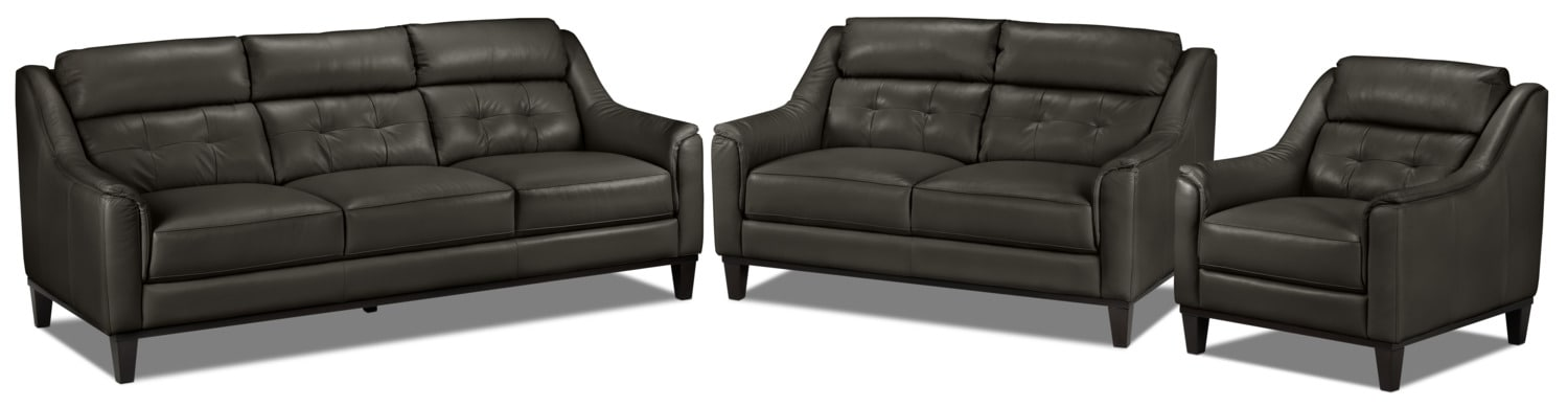 Linda Sofa, Loveseat and Chair Set - Charcoal