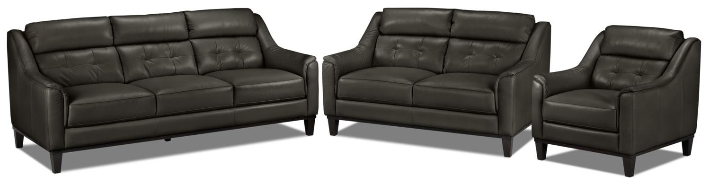 Linda Sofa, Loveseat and Chair Set - Charcoal