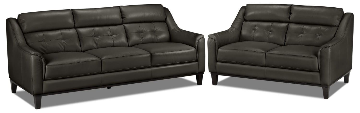 Linda Sofa and Loveseat Set - Charcoal