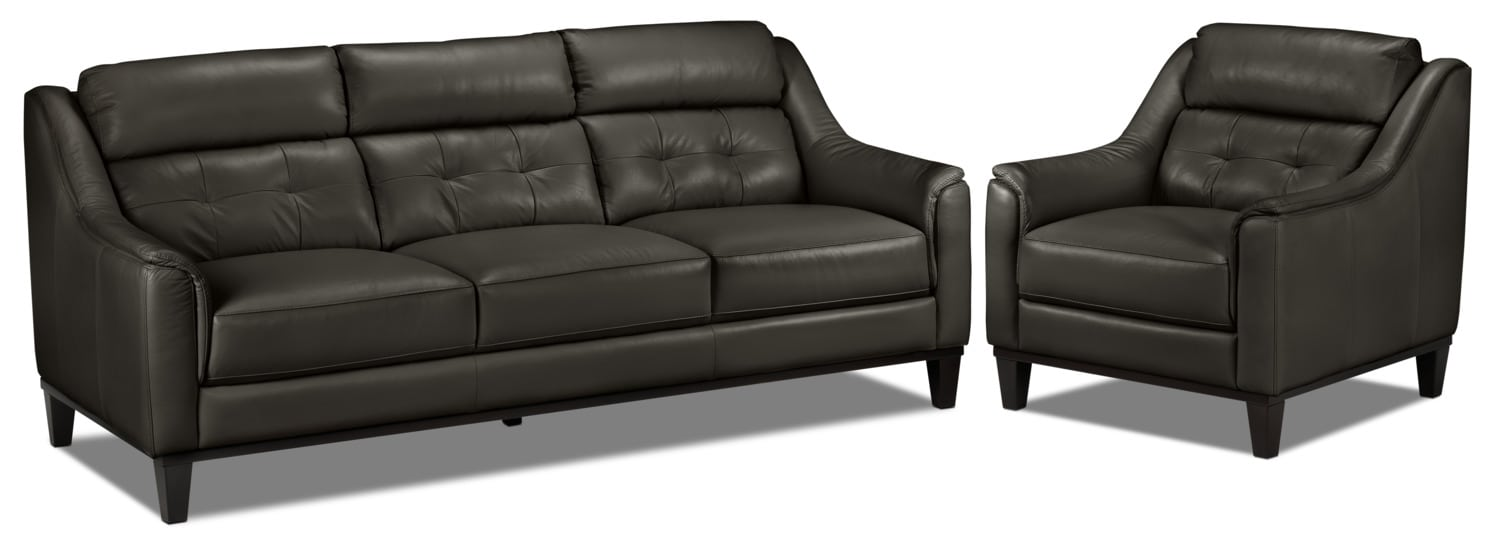 Linda Sofa and Chair Set - Charcoal