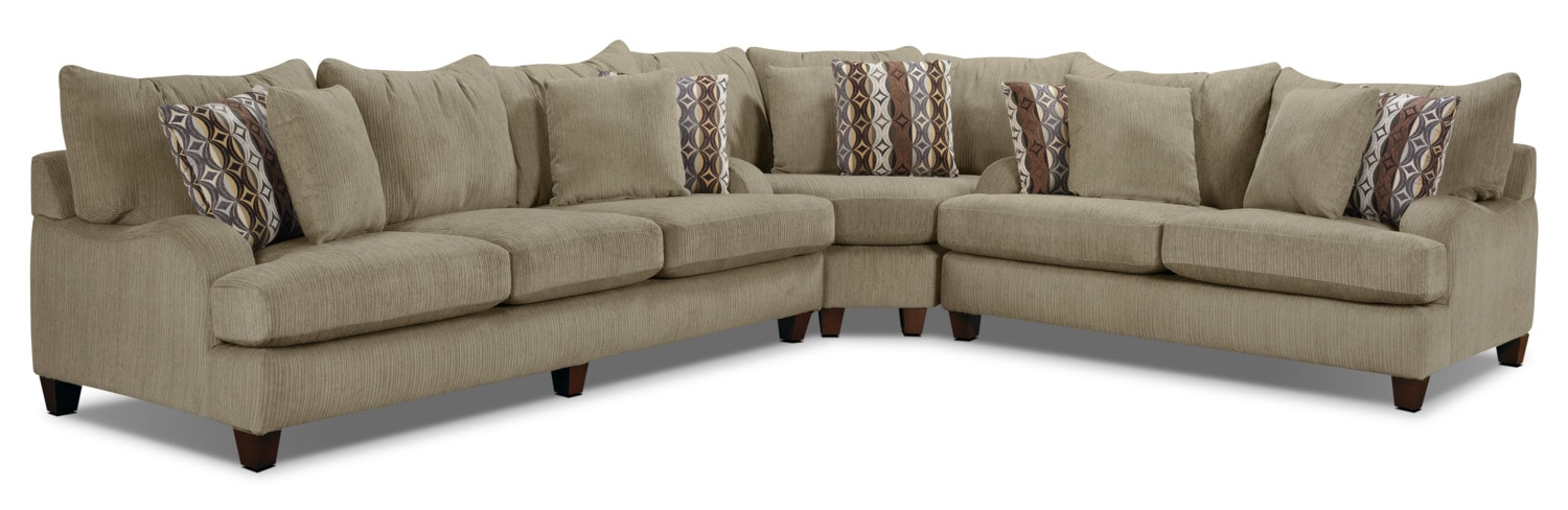 Living Room Furniture - Putty Chenille Studio-Size 3-Piece Sectional – Beige
