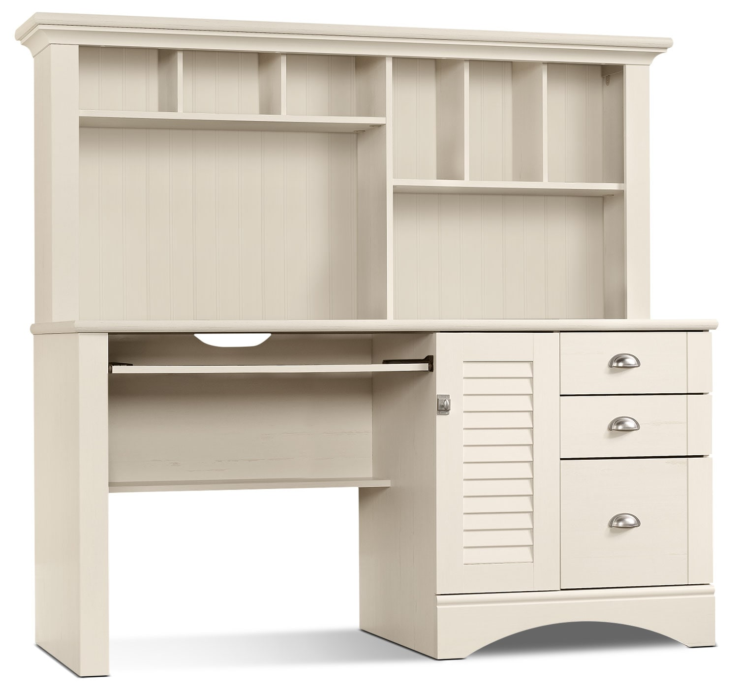 Harbor View Desk With Hutch Antiqued White The Brick