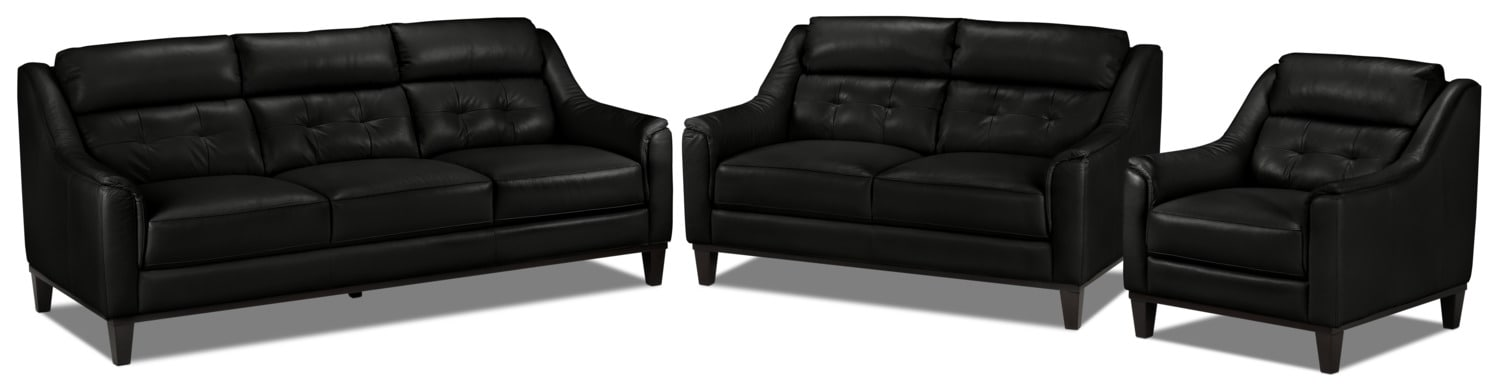 Linda Sofa, Loveseat and Chair Set - Black