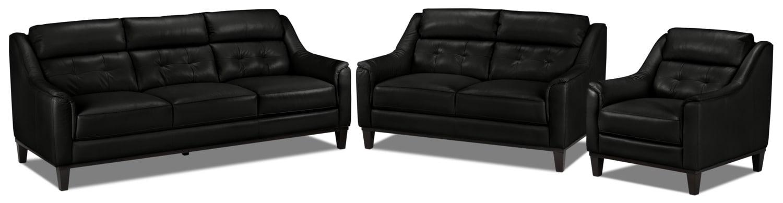 Linda Sofa, Loveseat and Chair Set - Black