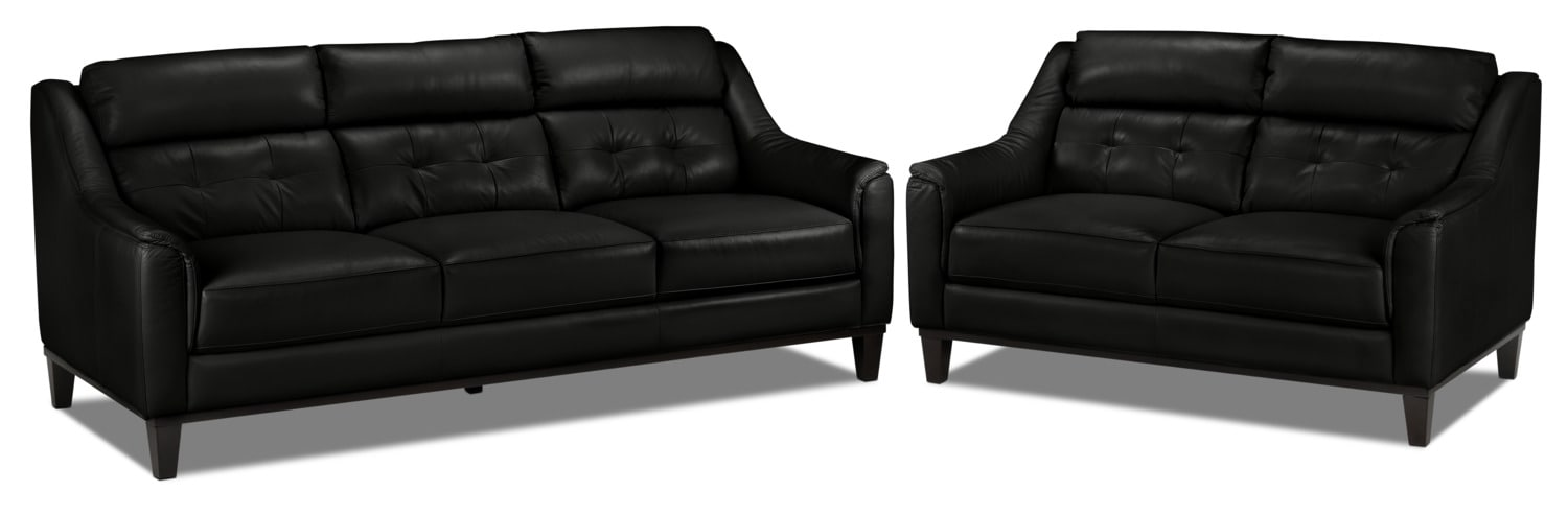Linda Sofa and Loveseat Set- Black