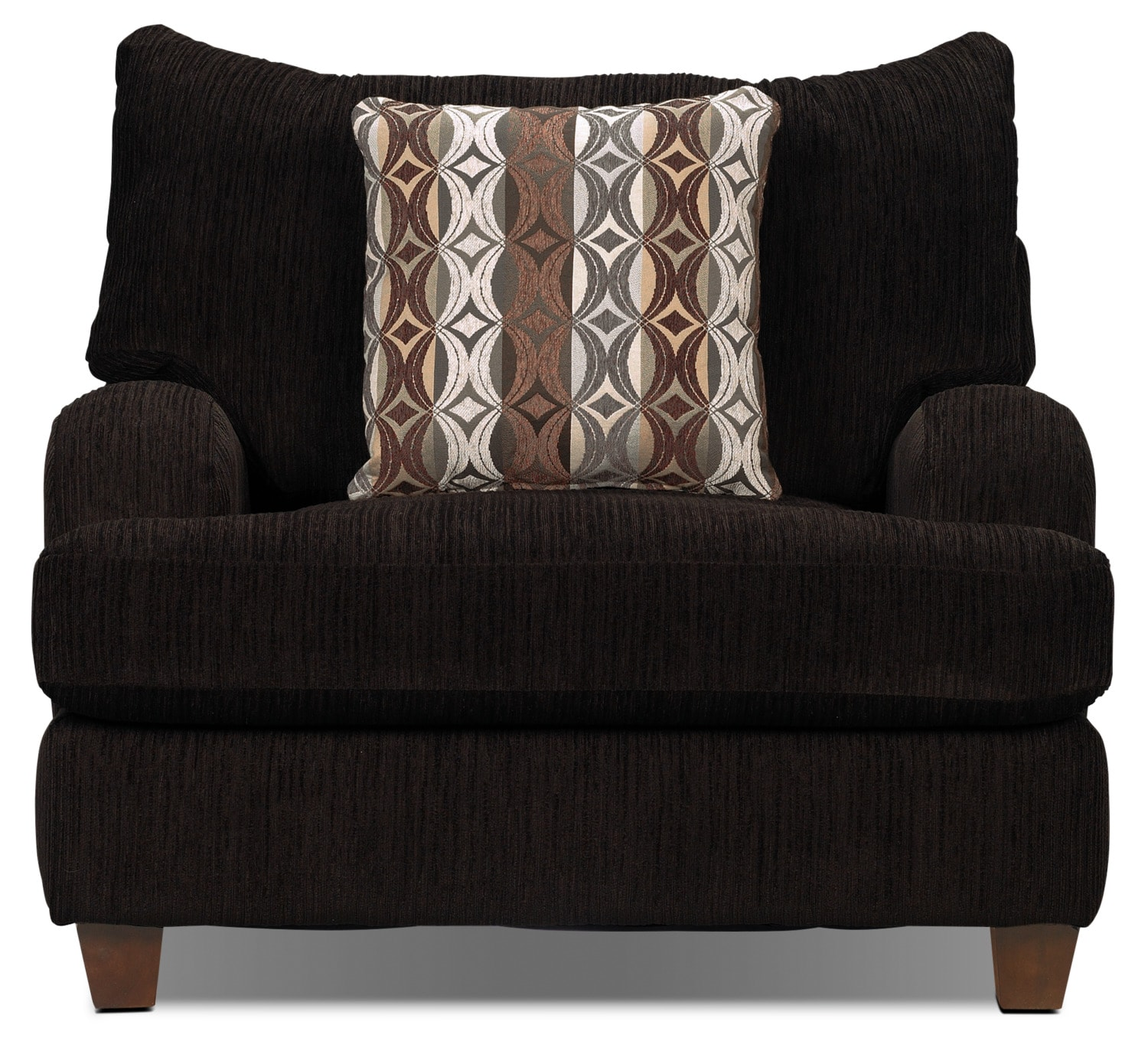 Living Room Furniture - Putty Chenille Chair- Chocolate