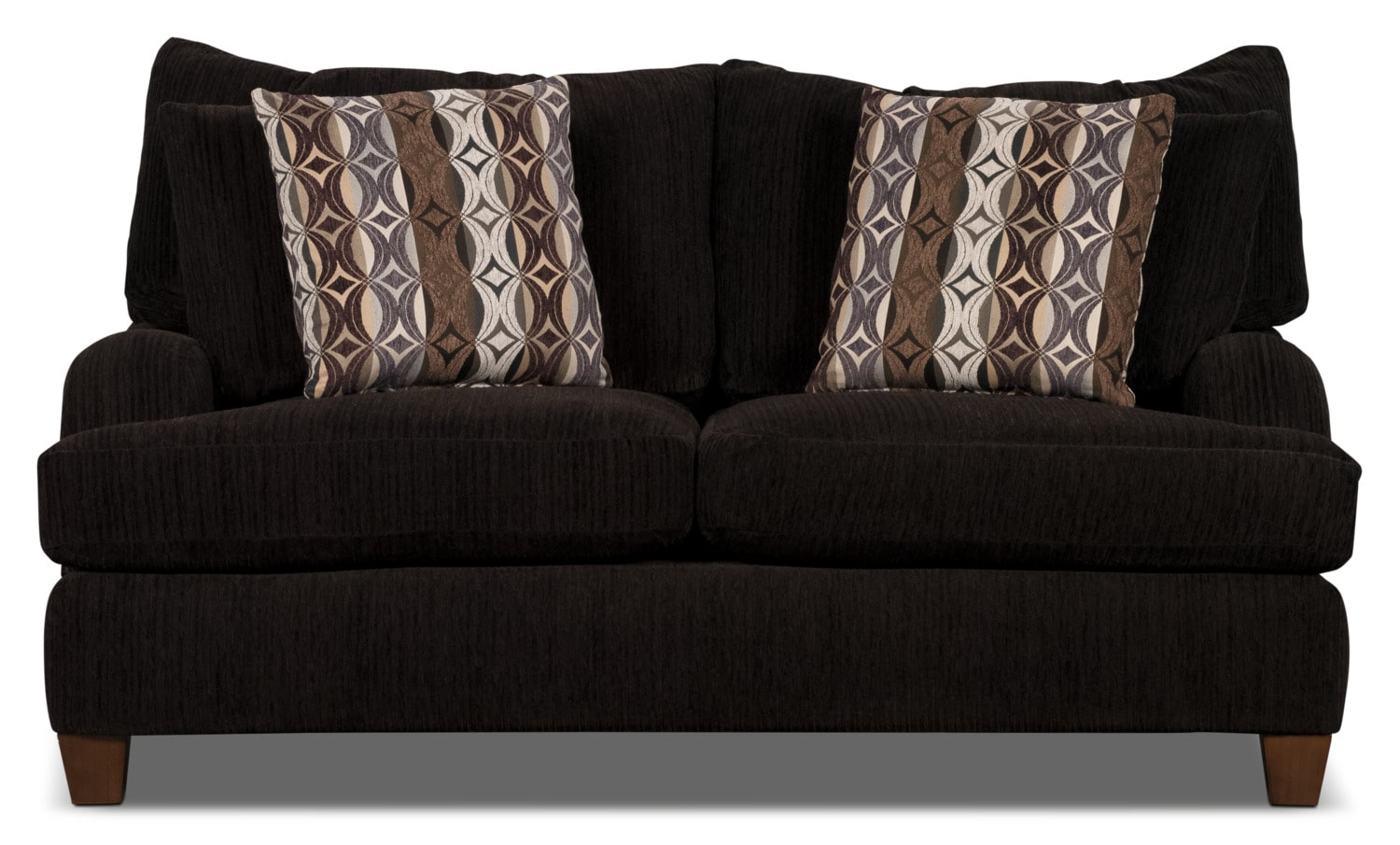 Living Room Furniture - Putty Chenille Loveseat - Chocolate
