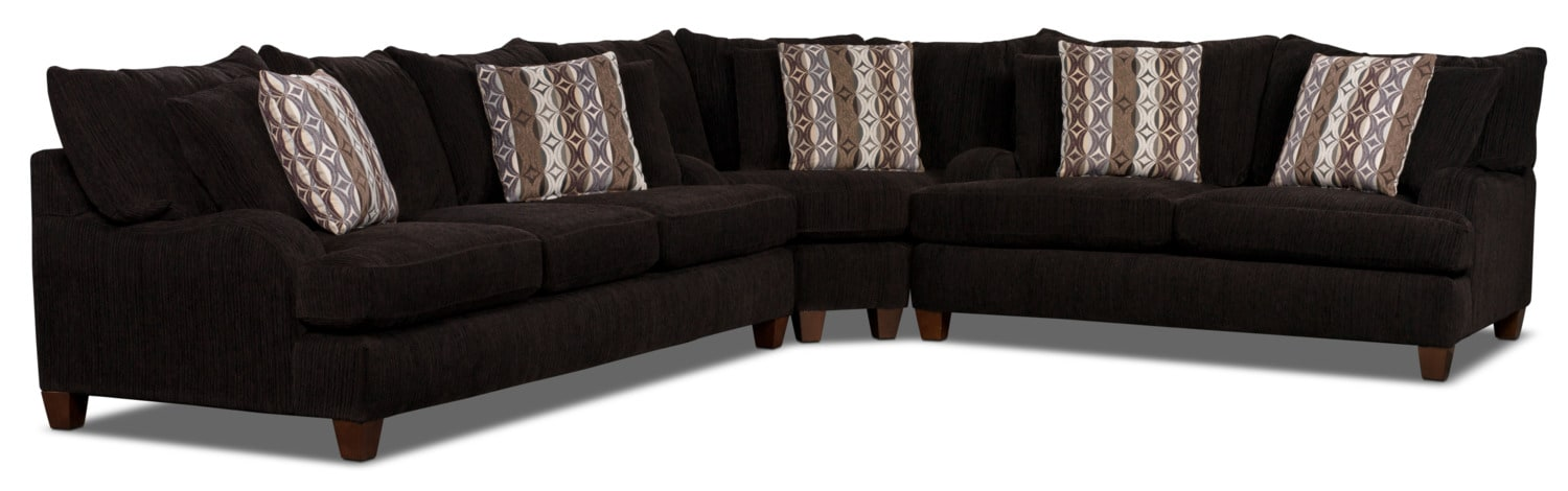 Putty Chenille Studio-Size 3-Piece Sectional – Chocolate